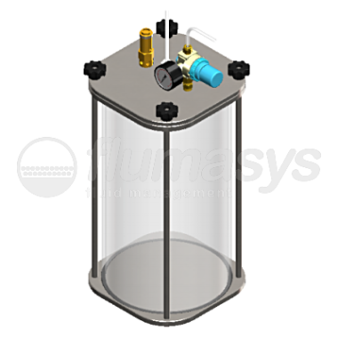 1000CL-CT-10L acrylic & stainless steel 303 Clear Pressure Tank_3D