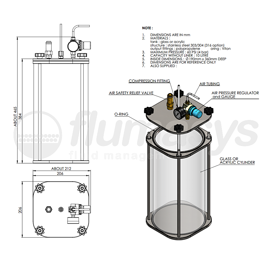 1000CL-CT-10L acrylic & stainless steel 303 Clear Pressure Tank_drawing