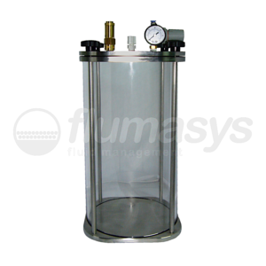 1000CL-CTG-10L Toughened Glass & stainless steel 303 Clear Pressure Tank