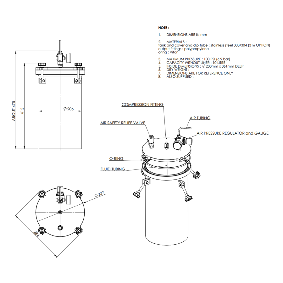 1000CL-ST-10L stainless steel 304 standard Pressure Tank_drawing