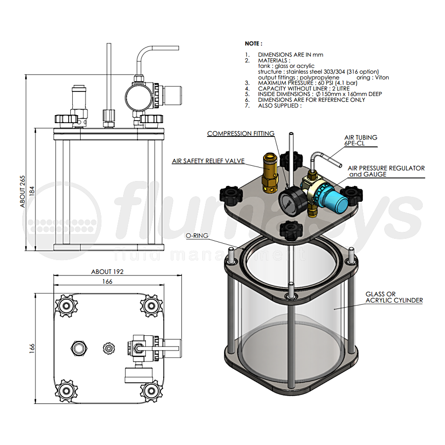 2000ML-CT-2L acrylic & stainless steel 303 Clear Pressure Tank_drawing