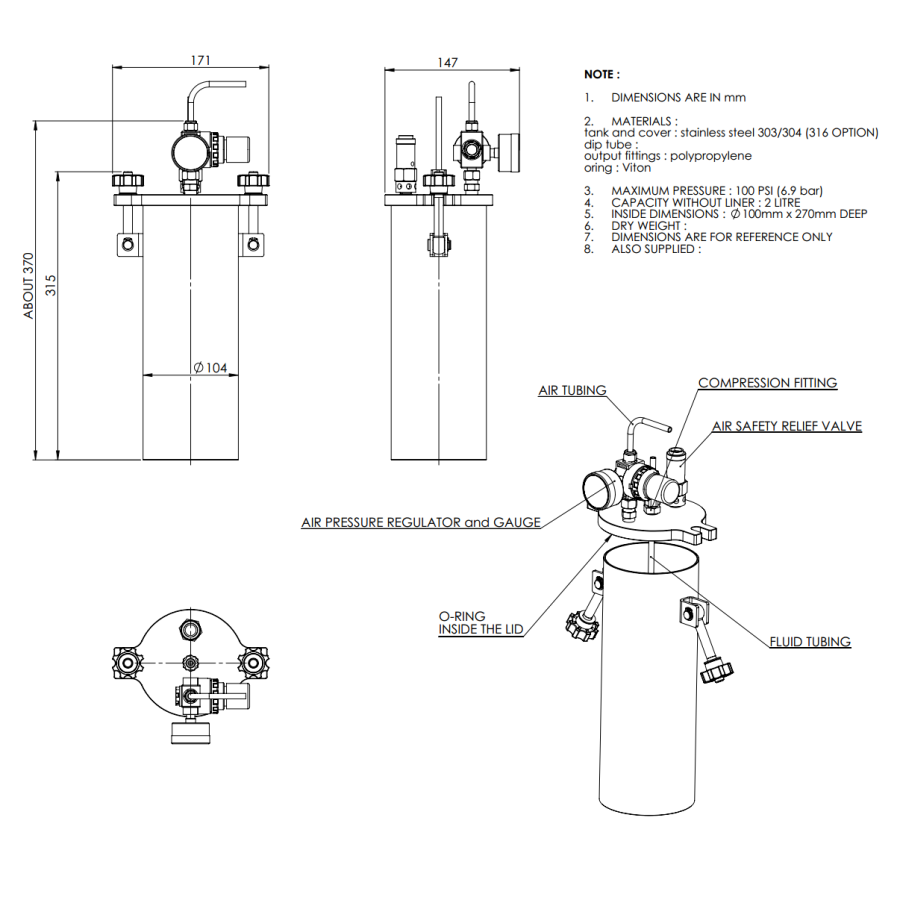 2000ML-ST-2L stainless steel 304 standard Pressure Tank_drawing
