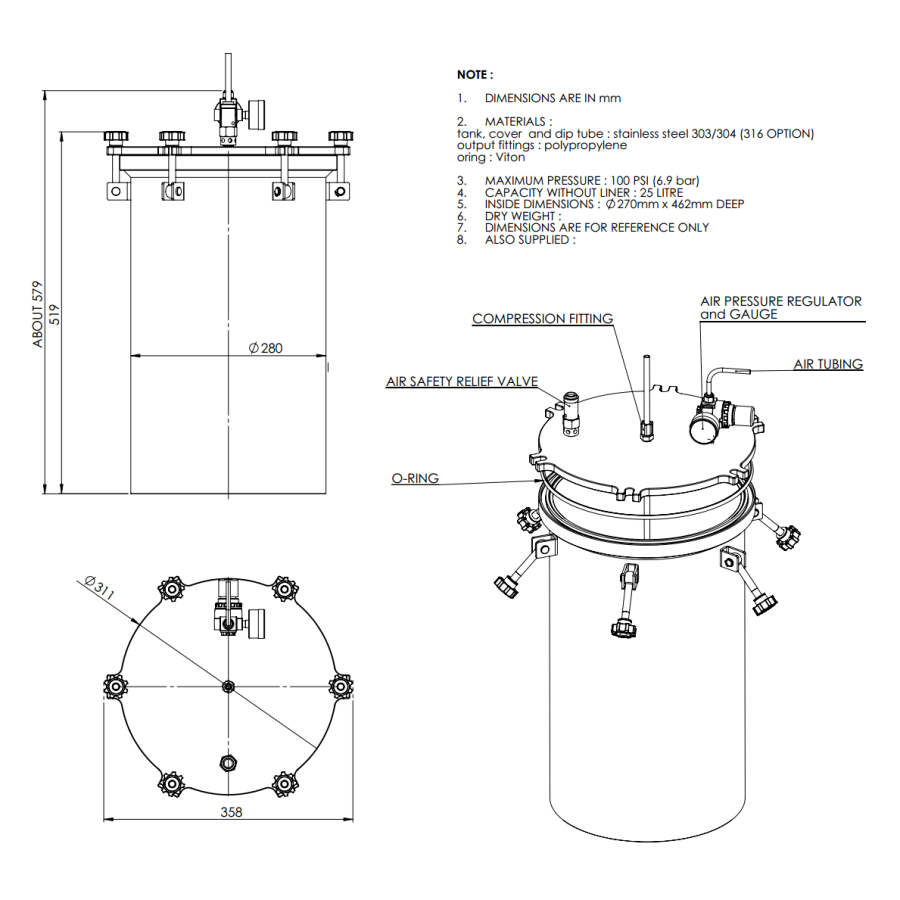 2500CL-ST-25L stainless steel 304 standard Pressure Tank_drawing