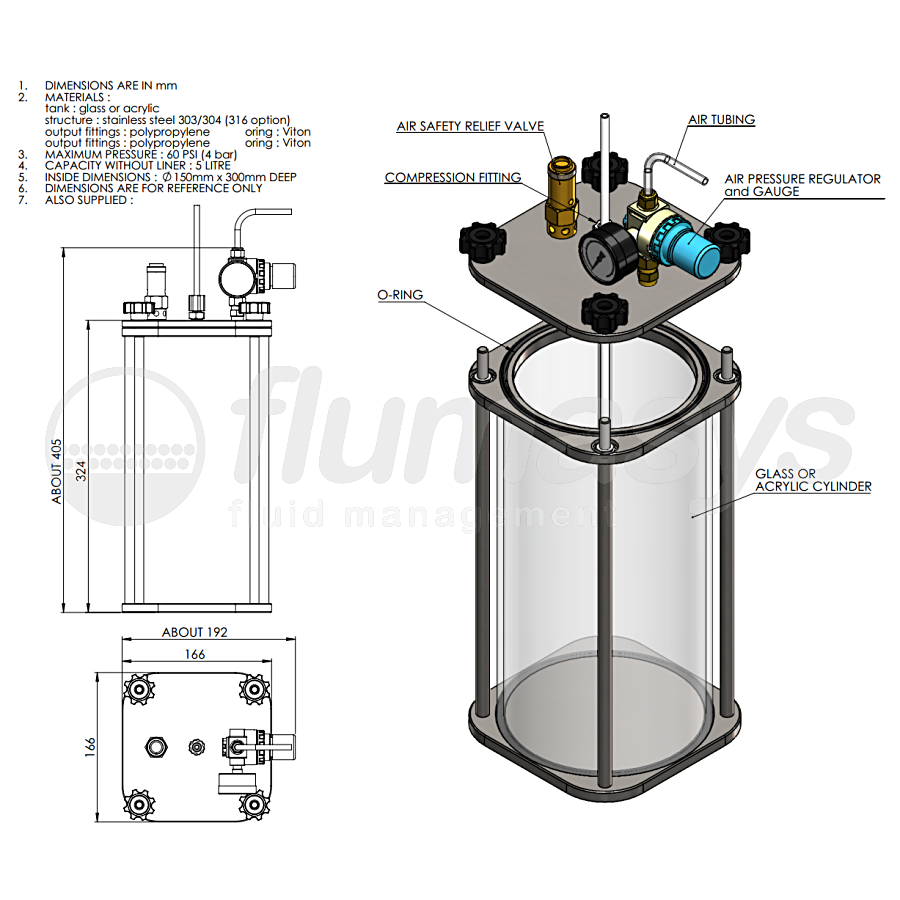 5000ML-CT-5L acrylic & stainless steel 303 Clear Pressure Tank_drawing