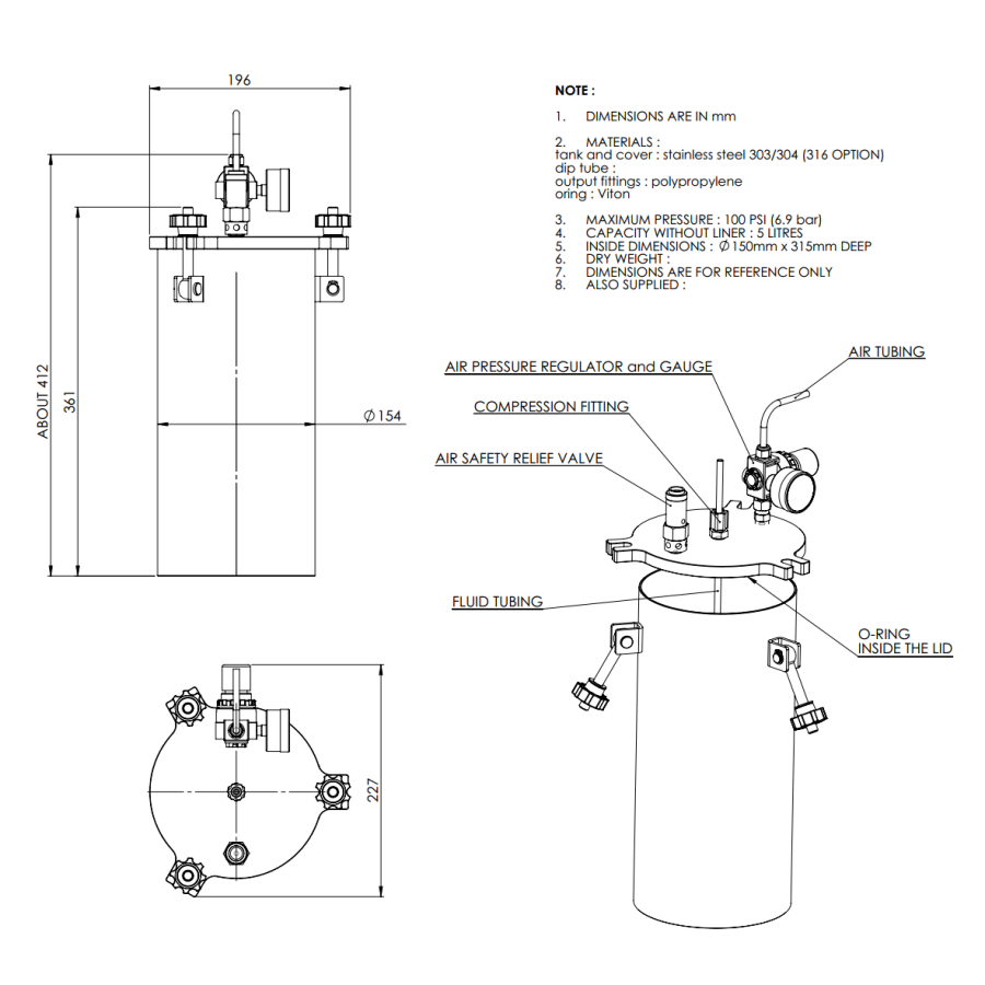 5000ML-ST-5L stainless steel 304 standard Pressure Tank_drawing