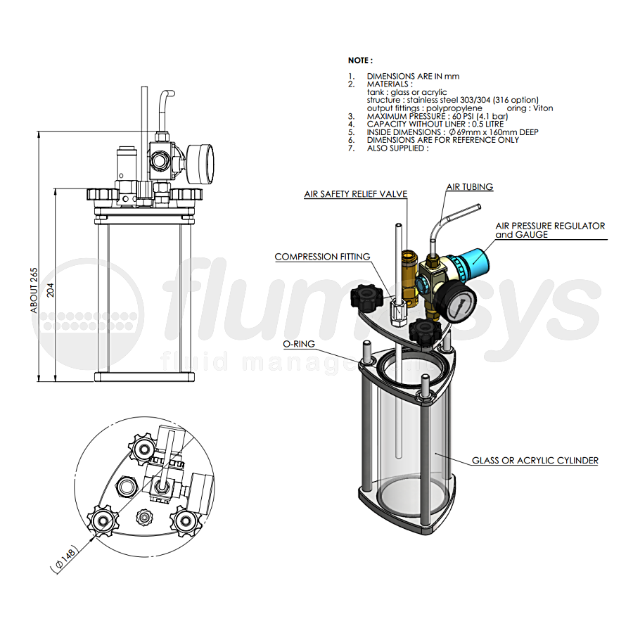 500ML-CT-0,5L acrylic & stainless steel 303 Clear Pressure Tank_drawing