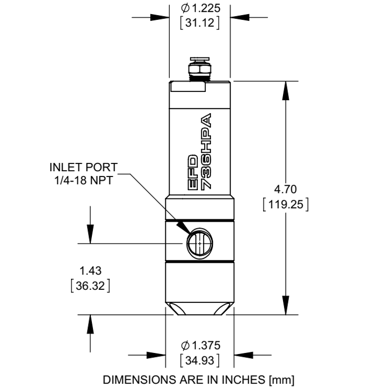 NordsonEFD 736HPA high pressure valve drawing